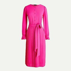 J Crew Size 0 Tie Front Pleated Dress Neon Pink
